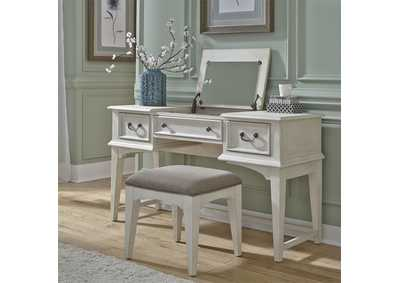 Image for Bayside Antique White Vanity Desk