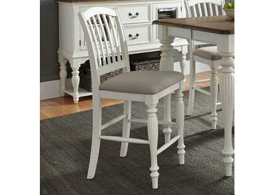 Cumberland Creek Nutmeg/White Slat Back Counter Chair (RTA)