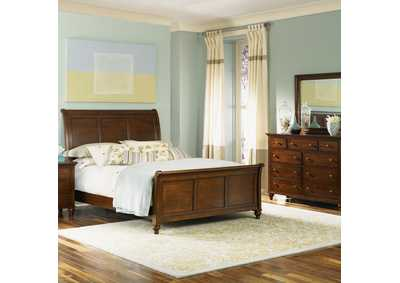 Hamilton Cinnamon King Sleigh Bed w/Dresser and Mirror