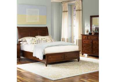 Hamilton Cinnamon Queen Storage Bed w/Dresser and Mirror