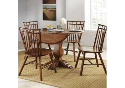 Creations II Tobacco 5 Piece Round Drop Leaf Dining Set