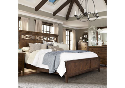 Image for Hearthstone Rustic Oak Queen Panel Bed w/Dresser and Mirror