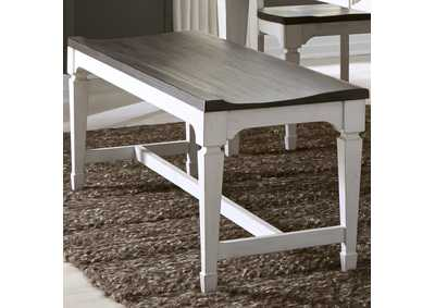 Image for Allyson Park White/Charcoal Wood Seat Bench