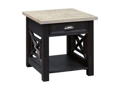 Heatherbrook Charcoal End Table w/Drawer