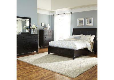 Image for Hamilton III Black King Sleigh Storage Bed w/Dresser and Mirror