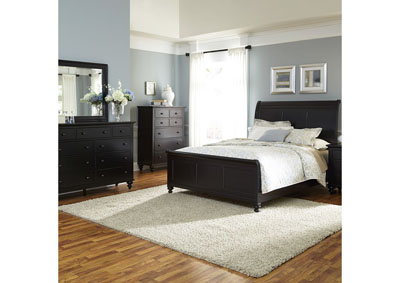 Image for Hamilton III Black Queen Sleigh Bed w/Dresser and Mirror