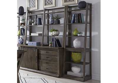 Stone Brook Saddle Grey Leaning Bookcase