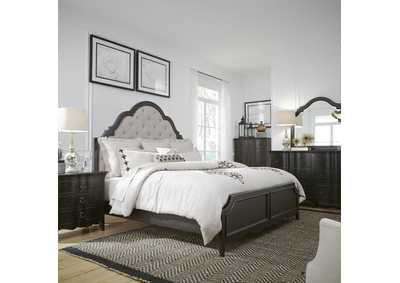 Chesapeake Antique Black King Upholstered Bed, Dresser & Mirror, Chest, NS