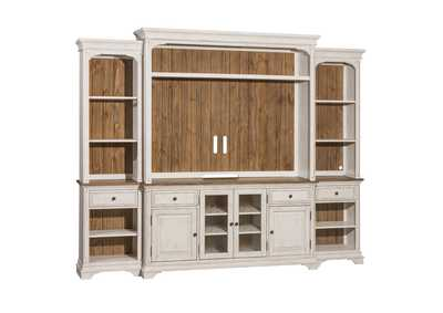 Image for Morgan Creek White/Tobacco Entertainment Center w/Piers
