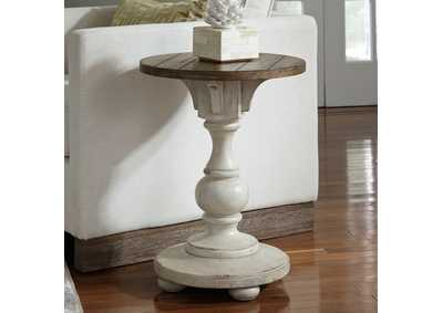 Morgan Creek Antique White/Brown Chairside Table