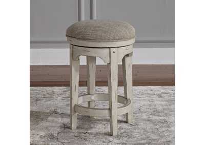 Morgan Creek Antique White/Brown Console Swivel Stool