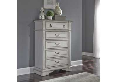 Image for Abbey Park Antique White 5 Drawer Chest