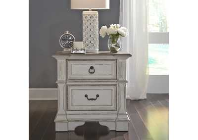 Image for Abbey Park Antique White 2 Drawer Night Stand w/ Charging Station