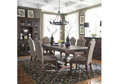 Lucca Brown 7 Piece Extension Leaf Dining Set