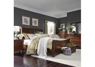 Rustic Traditions Cherry King Sleigh Bed, Dresser & Mirror, Chest, NS