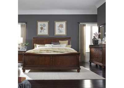 Rustic Traditions Cherry King Sleigh Bed, Dresser & Mirror, NS