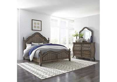 Image for Parisian Marketplace Brown King Poster Bed w/Dresser and Mirror