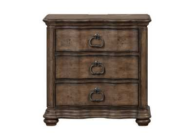 Image for Parisian Marketplace Brown 3 Drawer Night Stand w/Charging Station