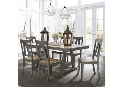 Lindsey Farm Gray/Sandstone 7 Piece Dining Set