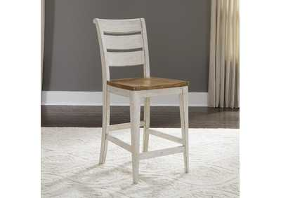 Farmhouse Reimagined White/Brown Ladder Back Counter Chair (RTA)