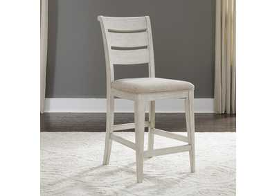 Farmhouse Reimagined White Ladder Back Counter Chair (RTA),Liberty
