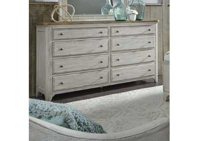 Farmhouse Reimagined White/Brown 8 Drawer Dresser