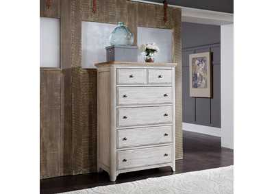 Farmhouse Reimagined White/Brown 5 Drawer Chest