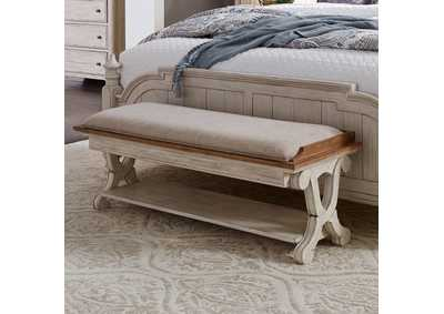 Farmhouse Reimagined White/Brown Bed Bench