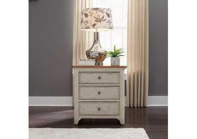 Farmhouse Reimagined White/Brown 3 Drawer Nightstand w/Charging Station