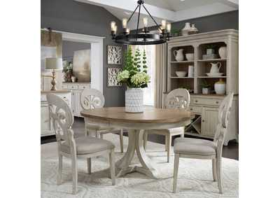 Farmhouse Reimagined White/Chestnut 5 Piece Round Dining Set,Liberty