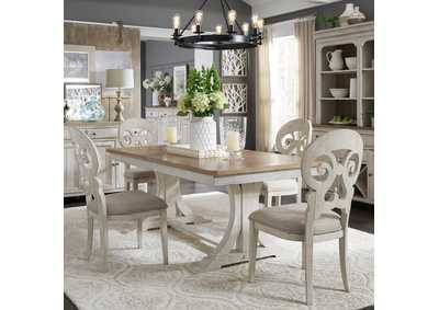 Farmhouse Reimagined White/Chestnut 5 Piece Dining Set,Liberty