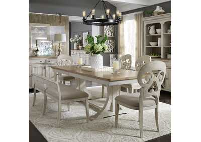Farmhouse Reimagined White/Chestnut 6 Piece Dining Set,Liberty