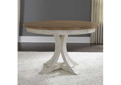 Farmhouse Reimagined White/Brown Round Extension Leaf Dining Table,Liberty