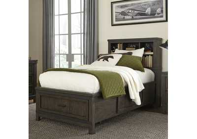Thornwood Hills Gray Twin Storage Bed w/Bookcase Headboard