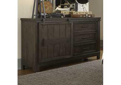 Thornwood Hills Rock Gray Barn Door Dresser