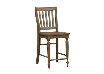 Harvest Home Barley Brown Slat Back Counter Chair (RTA)