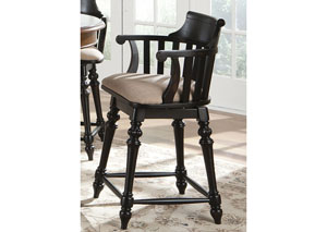 Crystal Lakes 24 Inch Swivel Counter Chair - Black