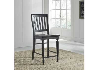 Harvest Home Black Slat Back Counter Chair (RTA)