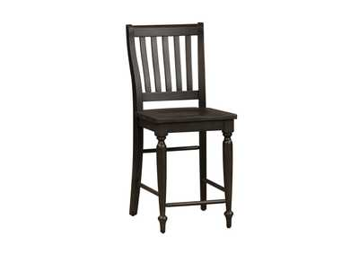 Harvest Home Black Slat Back Counter Chair (RTA),Liberty