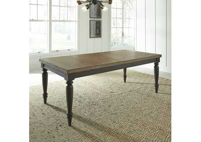 Harvest Home Black/Brown Rectangular Extension Leaf Dining Table,Liberty