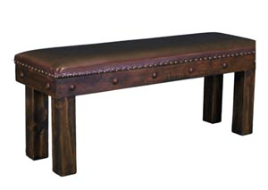 "Image for Laguna 4"" Medio Finish Wooden Bench w/Leather Seat"