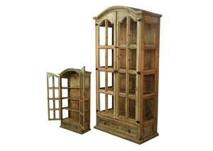 Honey Finish Display Cabinet/Curio