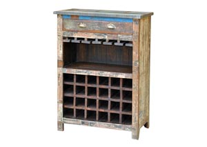 Reclaimed Painted Wood Wine Cabinet