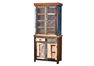 Painted Reclaimed Wood Curio w/Glass & Drawer Base