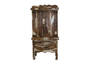 Antique Color Wash White Armoire
