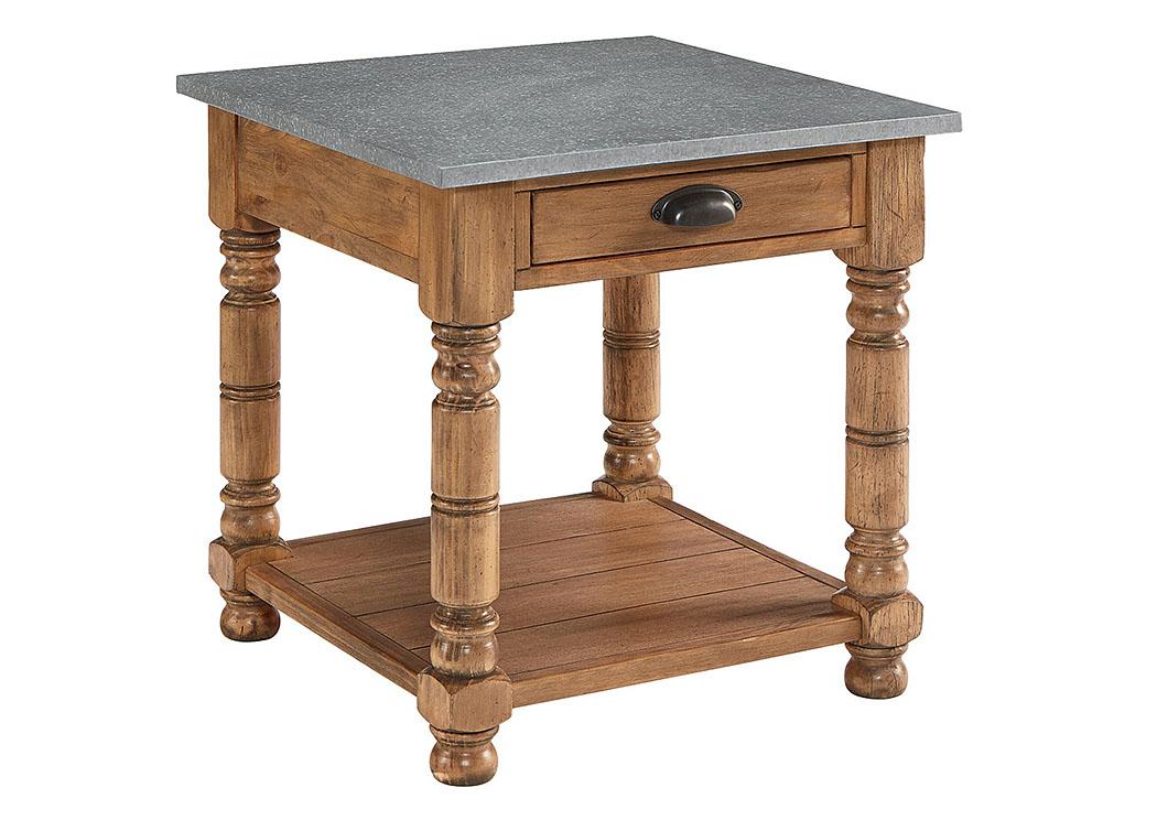 Bobbin Bench Finish Side Table W/Zinc Metal Top,Magnolia Home