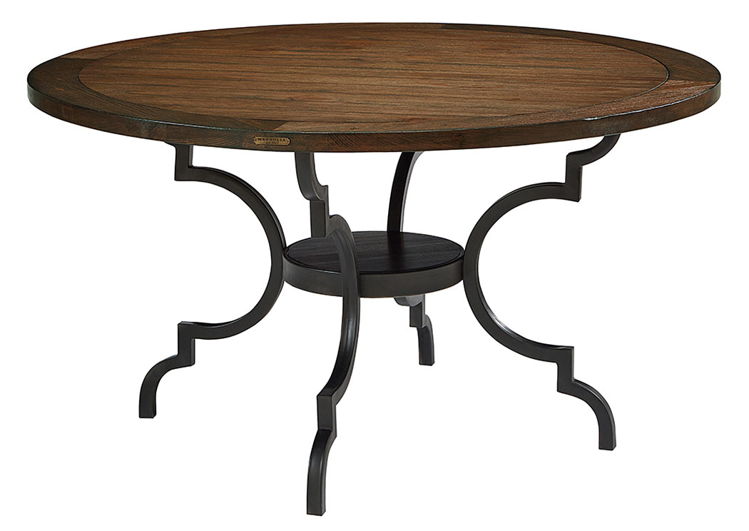 Breakfast Table W/Wood Top U0026 Metal Base, Jou0027s Black Finish,Magnolia Home