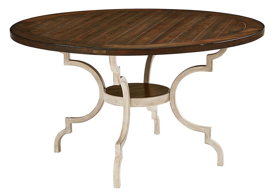 Breakfast Table W/Wood Top U0026 Metal Base, Antique White Finish,Magnolia Home