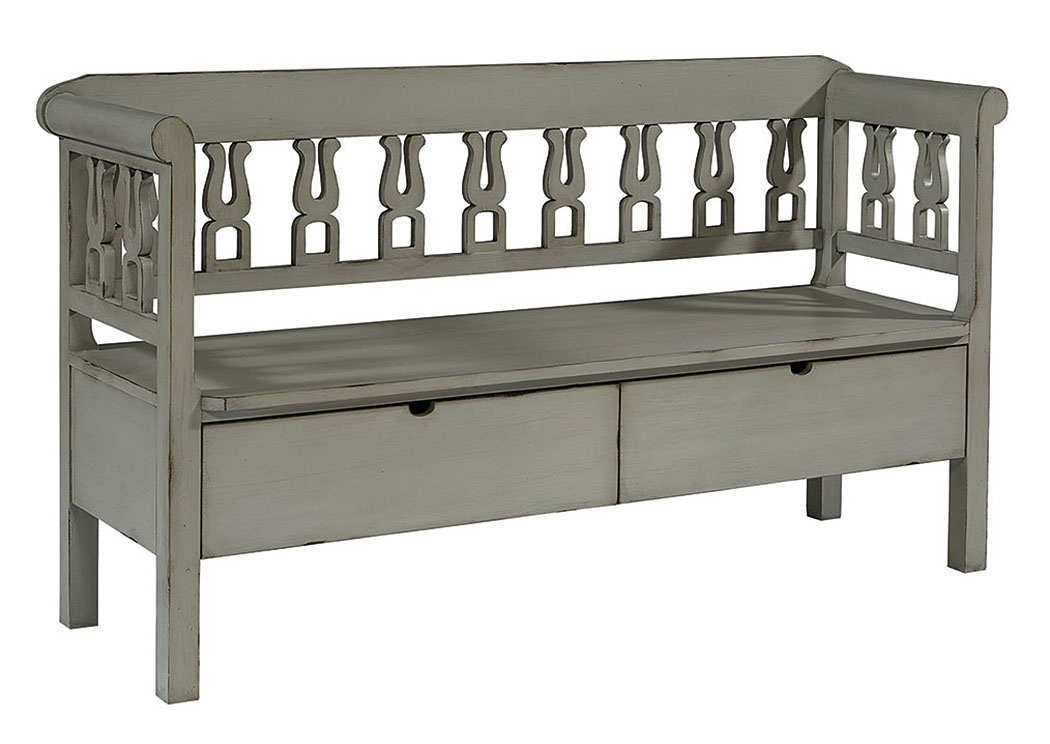 Hall Bench w/Storage, Dove Gray Finish,Magnolia Home
