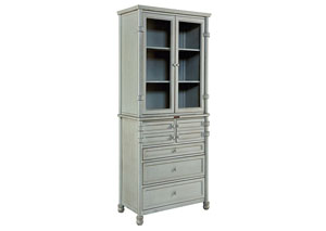 Metal Mineral Finish Dispensary Cabinet (Cabinet & Hutch)
